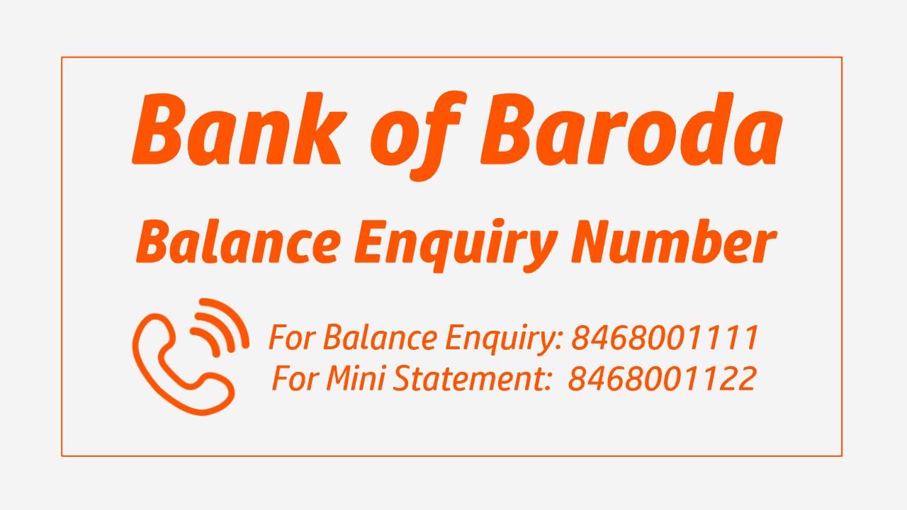 bank of baroda toll free balance check