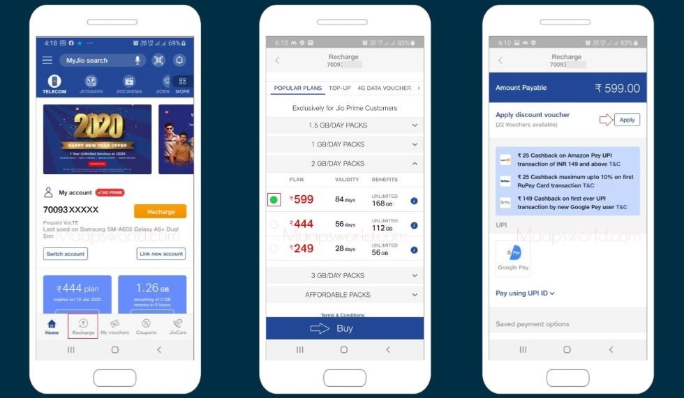 Jio recharge by debit card