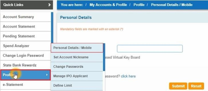 sbi profile password reset