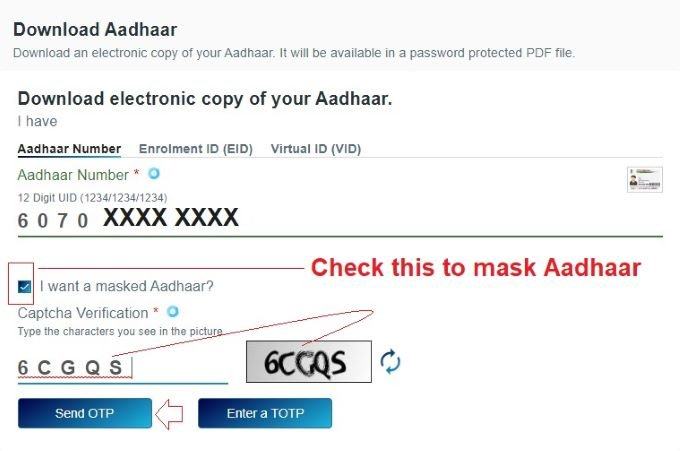 Download masked Aadhaar Card