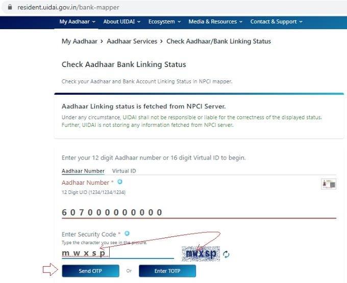 Aadhaar linking status with Bank